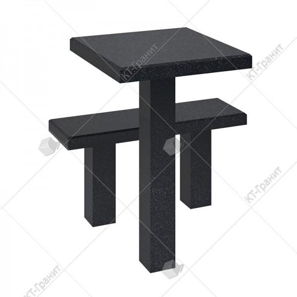 Стол с лавочкой  из гранита. Модель LS11
