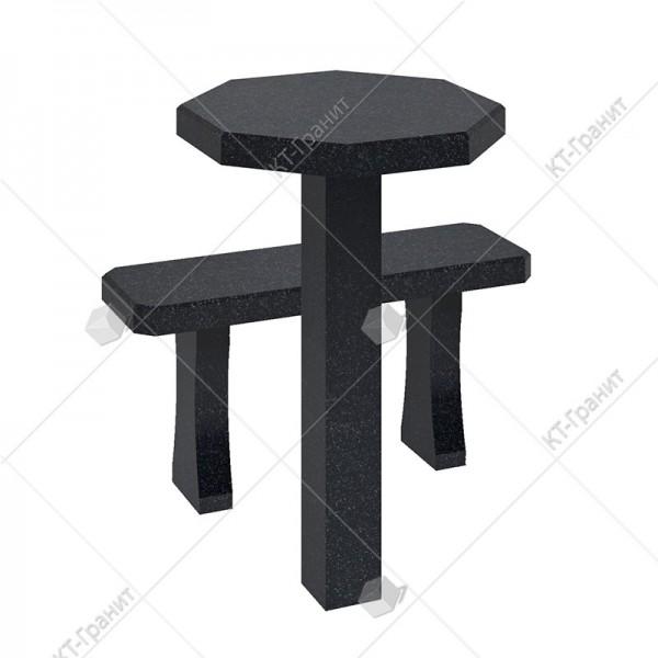 Стол с лавочкой  из гранита. Модель LS13