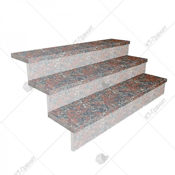 Гранитные термообработанные накладные ступени из капустинского гранита,  толщина  3 см