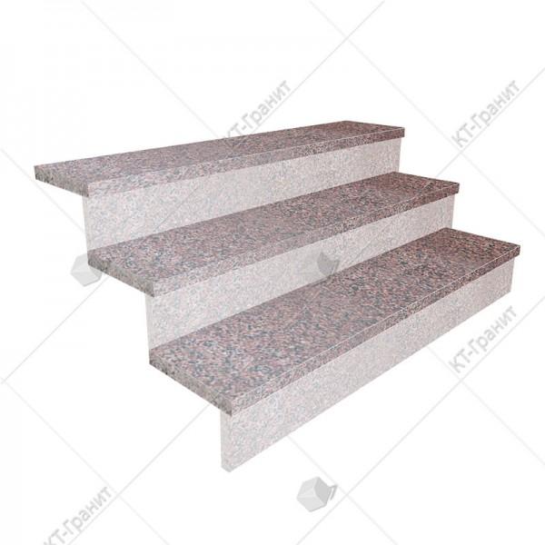 Гранитные термообработанные накладные ступени из лезниковского гранита,  толщина  3 см