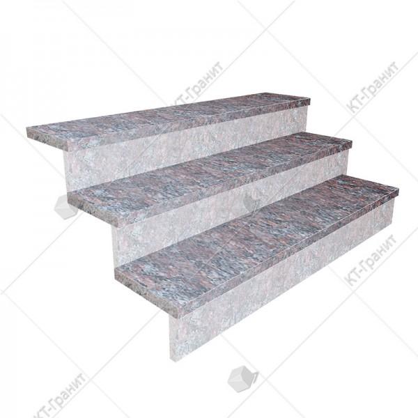 Гранитные полированные накладные ступени из токовского гранита,  толщина  3 см