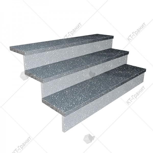 Гранитные термообработанные накладные ступени из габбро,  толщина  3 см