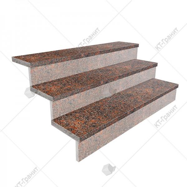 Гранитные термообработанные накладные ступени из новоданиловского гранита,  толщина  3 см