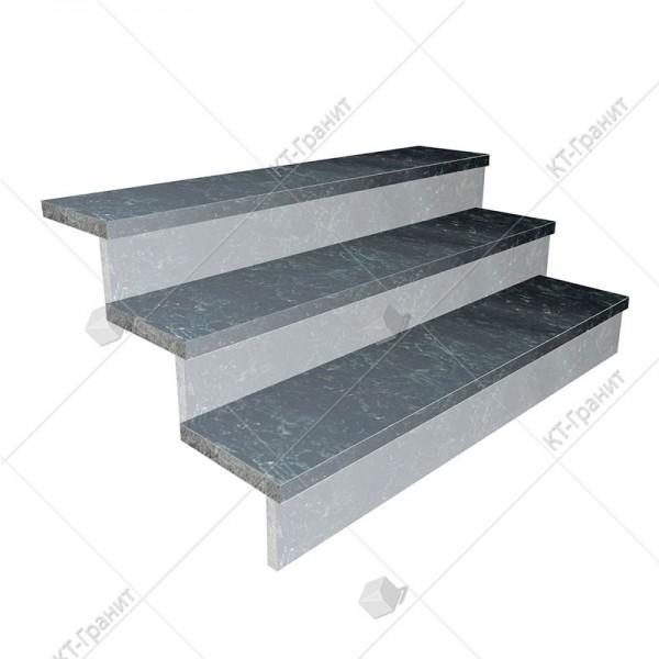 Гранитные термообработанные накладные ступени из осныковского лабрадорита,  толщина  3 см