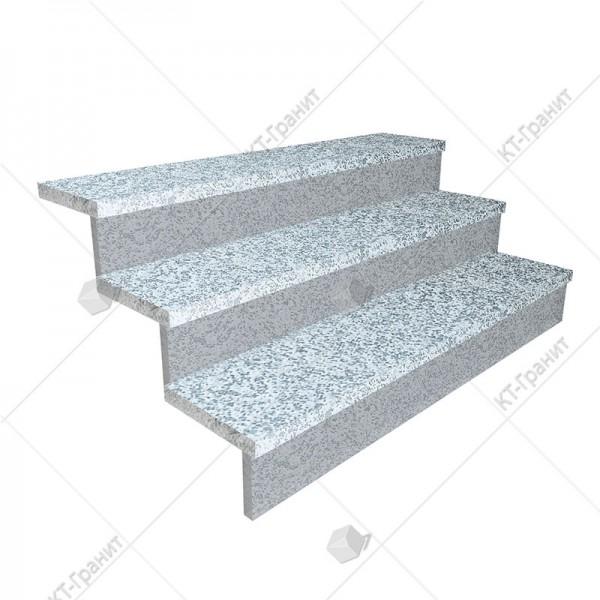Гранитные широкие термообработаные накладные ступени из покостовского гранита,  h = 3 см
